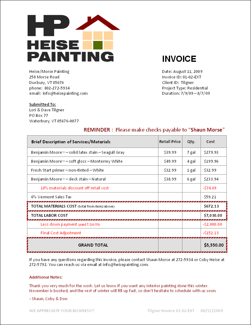 Painting invoice joy studio design gallery best design for House painting invoice template